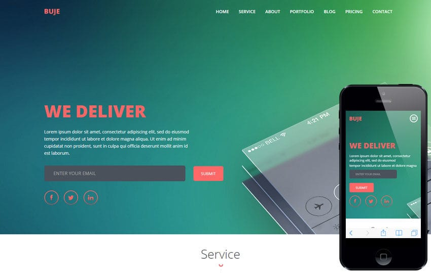 Buje a Mobile App based Flat Bootstrap Responsive Web Template Mobile website template Free