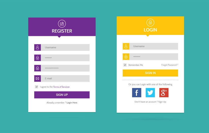 Flat UI Web Forms Widget Template Mobile website template Free