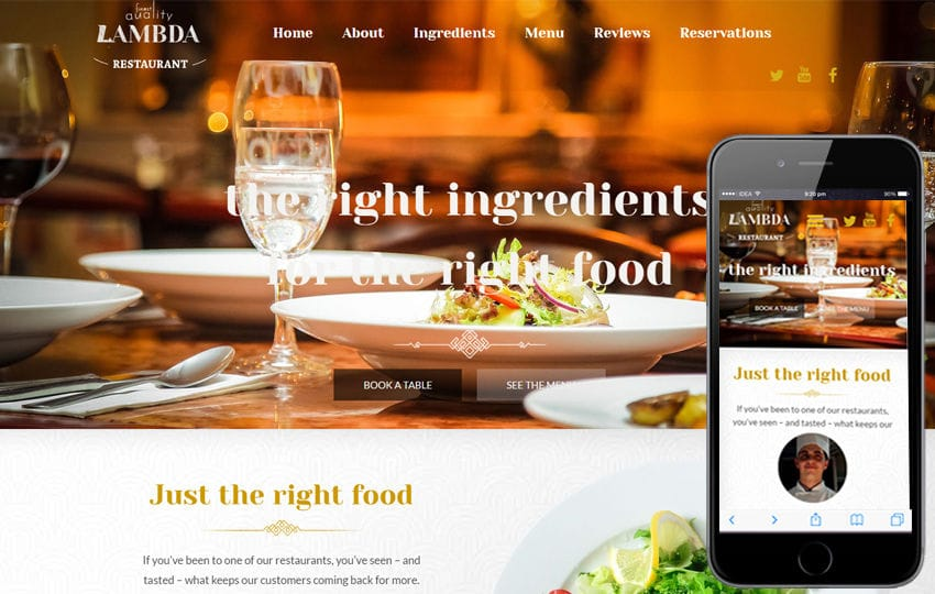 Lambda a Food Category Flat Bootstrap Responsive Web Template Mobile website template Free