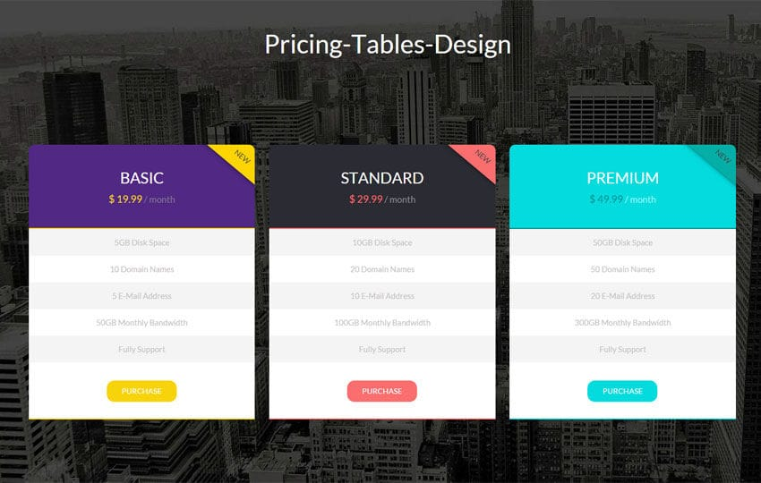 Flat Pricing Tables Design Widget Template Mobile website template Free