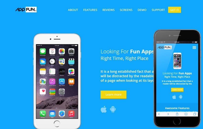 App Fun v2 a Mobile App Landing Flat Bootstrap Responsive Web Template Mobile website template Free