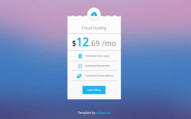 Cloud Hosting Pricing Table Design Widget Template