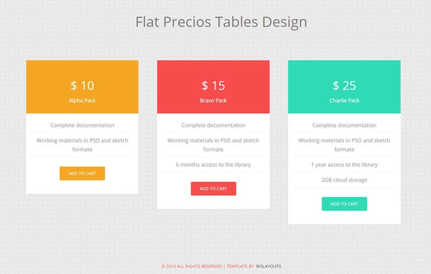 Flat Precious Tables Design Widget Template Mobile website template Free