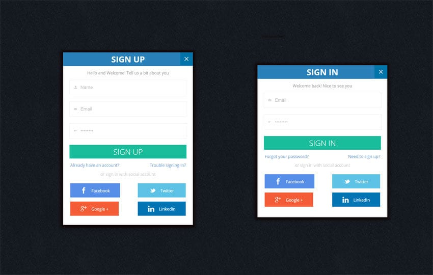 Flat Trendy Signup Forms Widget Template