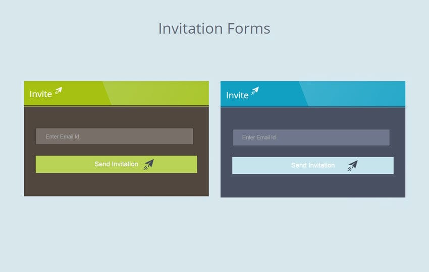 Flat Invitation Forms Widget Template Mobile website template Free