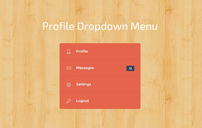 Profile Dropdown Menu Widget Template Mobile website template Free