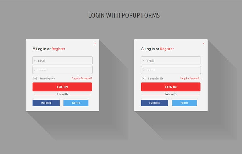 Shadow Tres Forms Widget Template Mobile website template Free