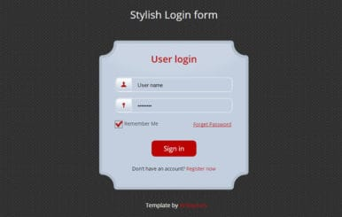 Stylish login Form Widget Template