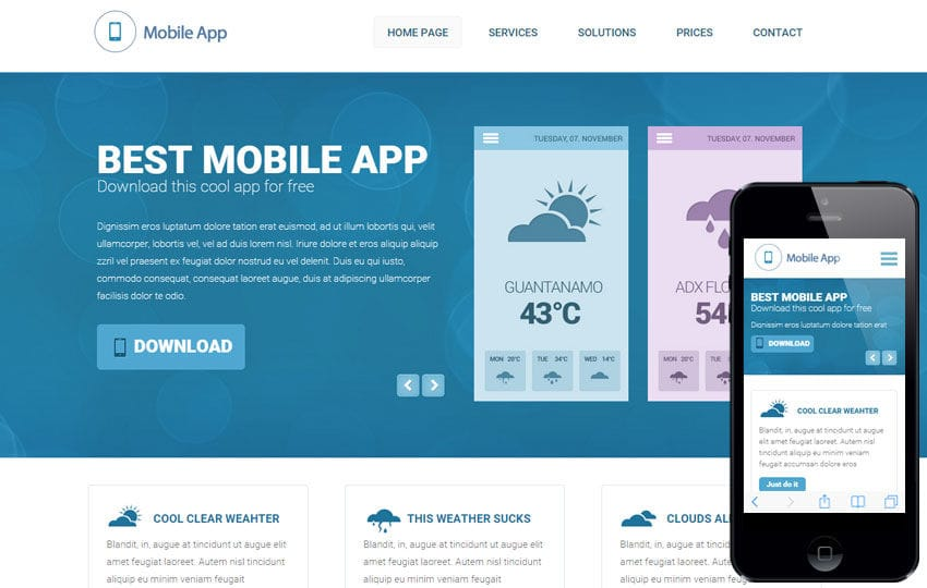 Weather a Mobile App based Flat Bootstrap Responsive Web Template Mobile website template Free