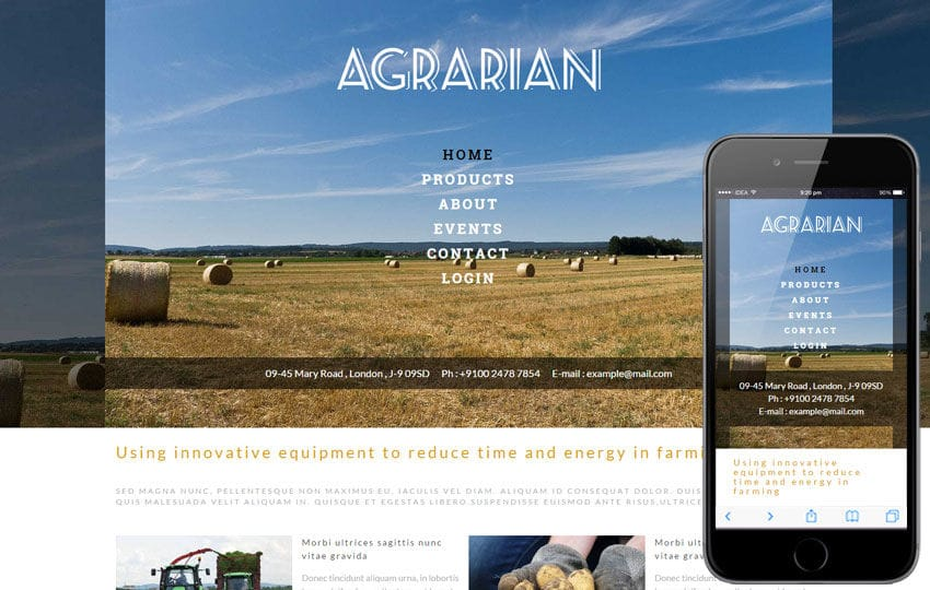 Agrarian a Agriculture Category Flat Bootstrap Responsive Web Template Mobile website template Free