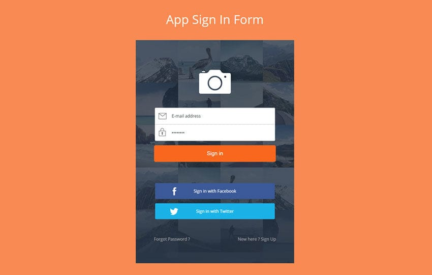 App Signin Form Flat Responsive Widget Template