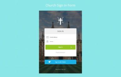 Church Signin Form Flat Responsive Widget Template
