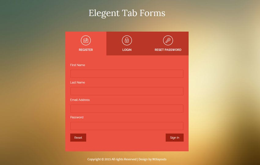 Flat Style Elegent Tab Forms Widget Template Mobile website template Free