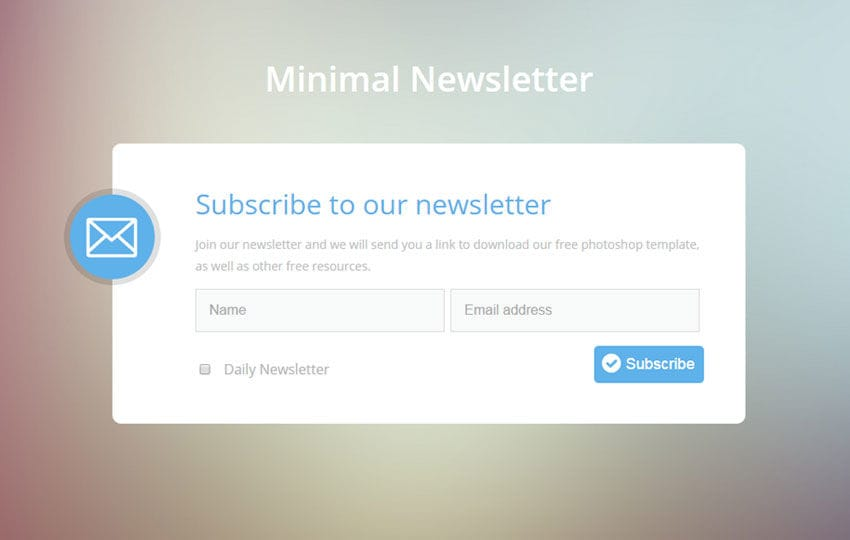 Minimal Newsletter Flat Responsive Widget Template