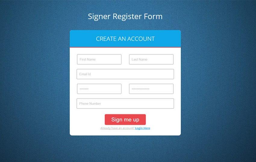 Signer Register Form Flat Responsive Widget Template