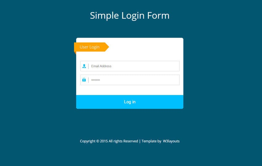 Simple Flat Login Form Widget Template