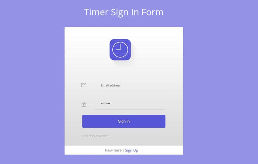 Timer Signin Form Flat Responsive Widget Template