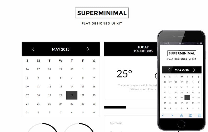 Super Minimal UI Kit a Flat Bootstrap Responsive Web Template Mobile website template Free