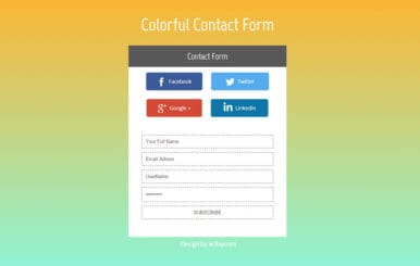 Colorful Contact Form Flat Widget Template