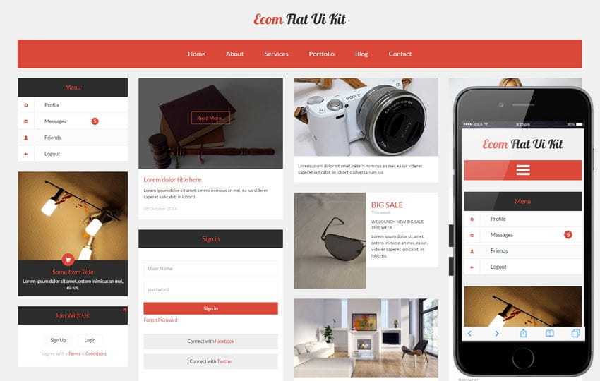 Ecom UI Kit a Flat Bootstrap Responsive Web Template Mobile website template Free