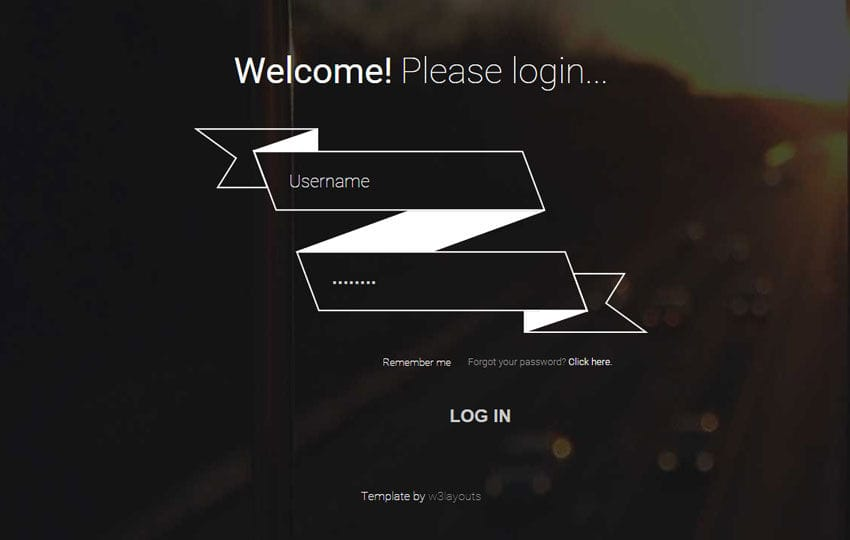 Ribbon Login Form Responsive Widget Template