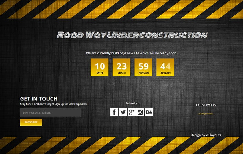 Road Way Under Construction Flat Responsive Web Template Mobile website template Free