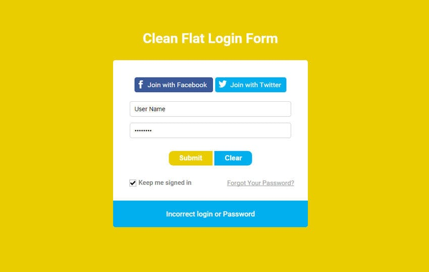 Clean Flat Login Form Responsive Widget Template