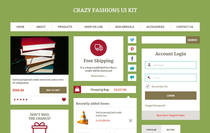 Crazy Fashions UI Kit a Flat Bootstrap Responsive Web Template Mobile website template Free