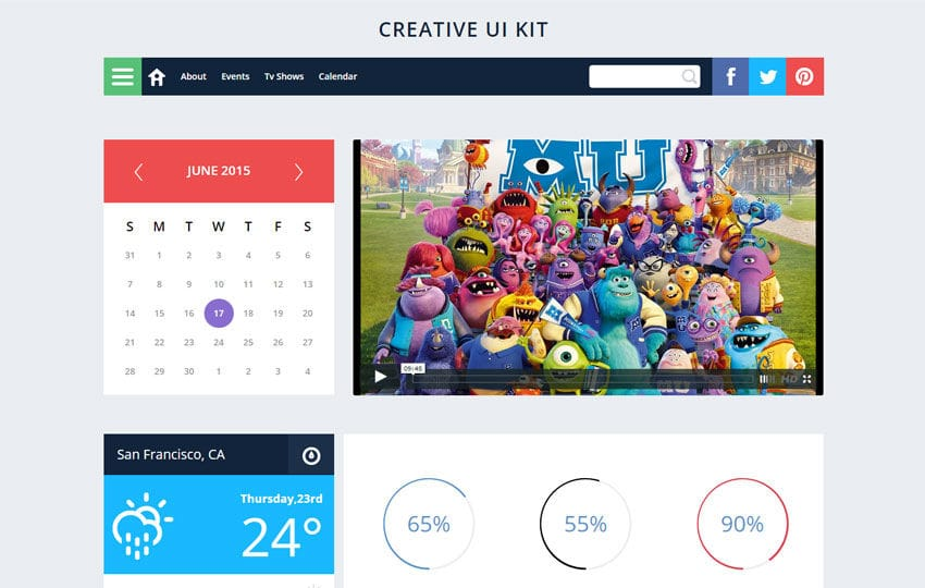 Creative UI Kit a Flat Bootstrap Responsive Web Template Mobile website template Free