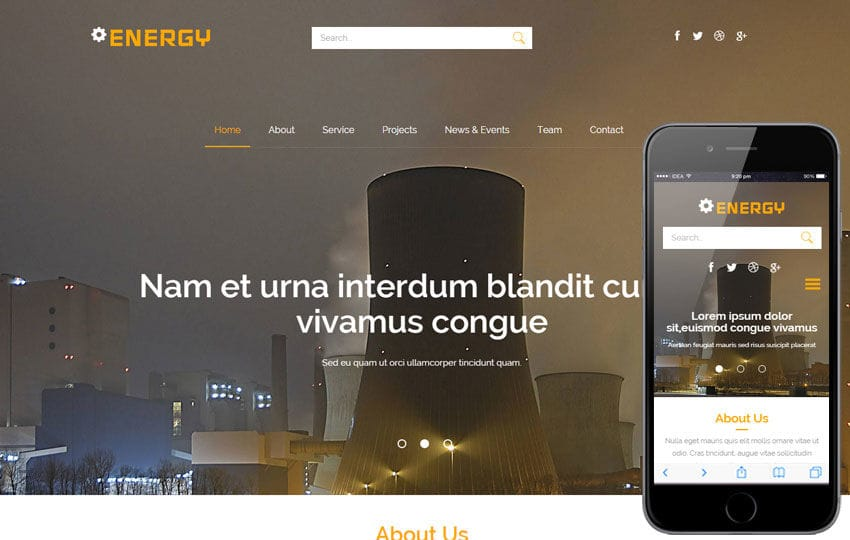 Energy a Industrial Category Flat Bootstrap Responsive Web Template Mobile website template Free