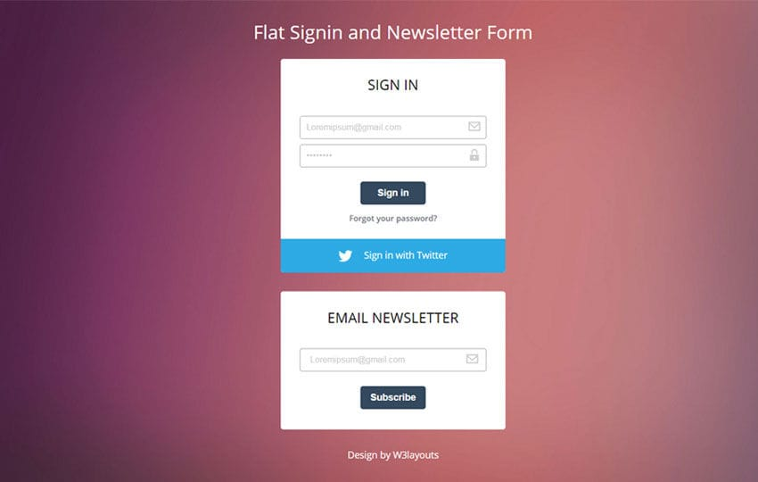 Flat Signin and Newsletter Form Responsive Widget Template