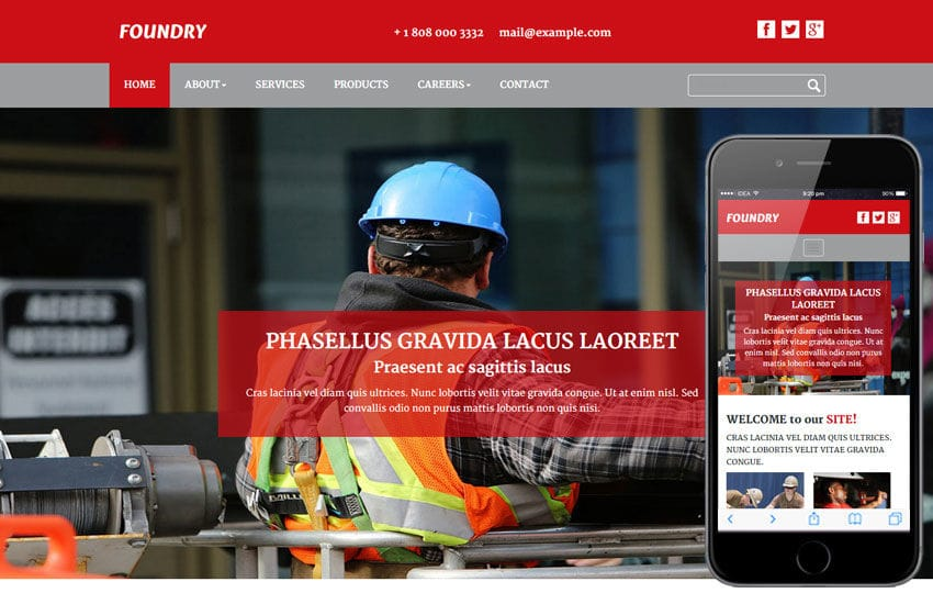 Foundry a Industrial Category Flat Bootstrap Responsive Web Template Mobile website template Free