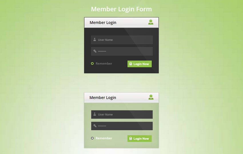 Member Login Form Responsive Widget Template