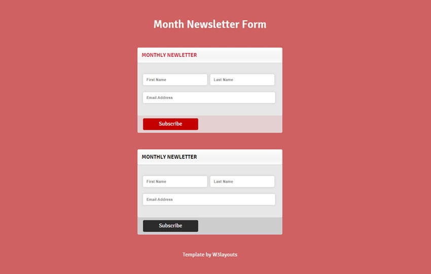 Month Newsletter Form Responsive Widget Template