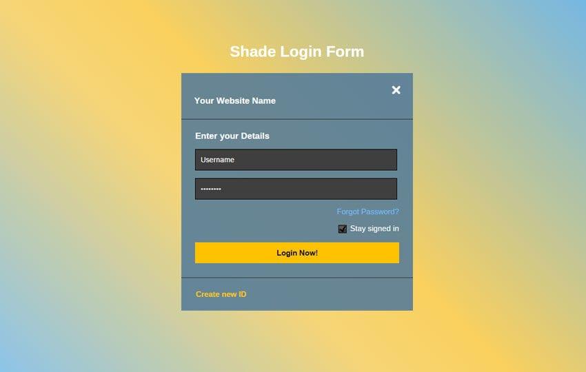 Shade Login Form Responsive Widget Template