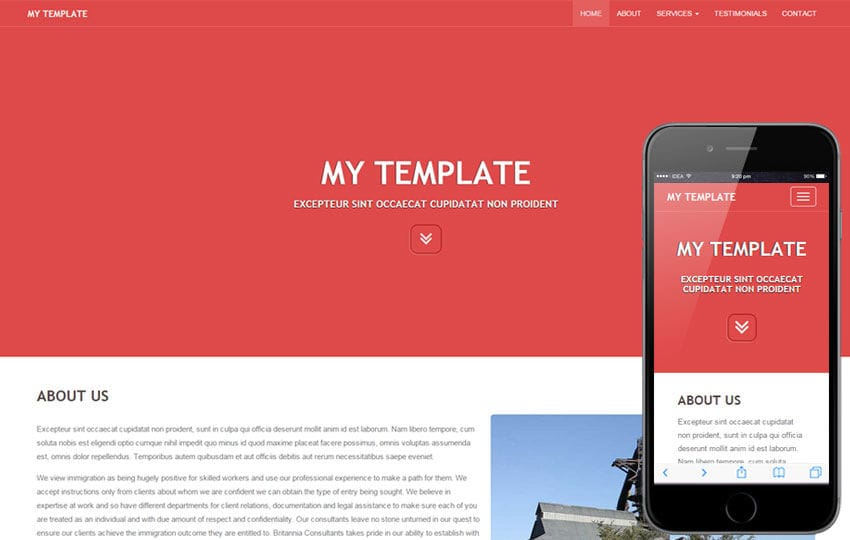 My Template a General Purpose Bootstrap Responsive Web Template Mobile website template Free