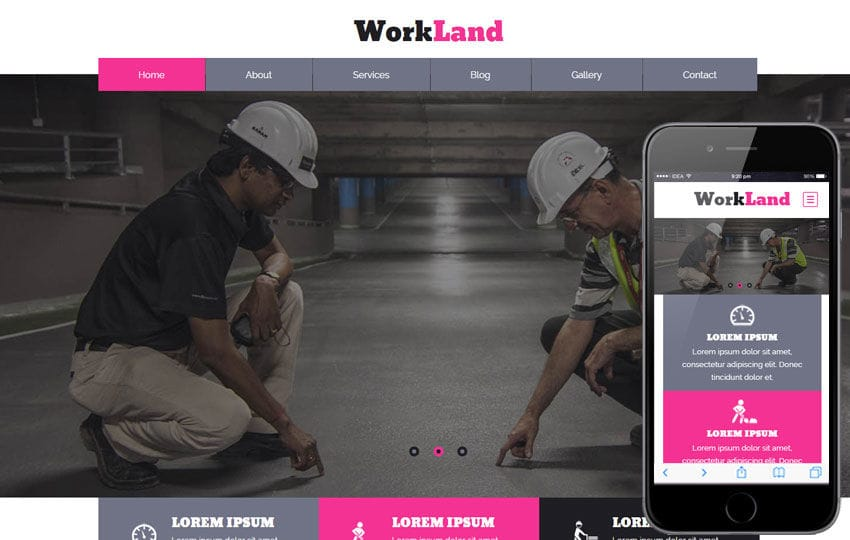 Work Land a Industrial Category Flat Bootstrap Responsive Web Template Mobile website template Free
