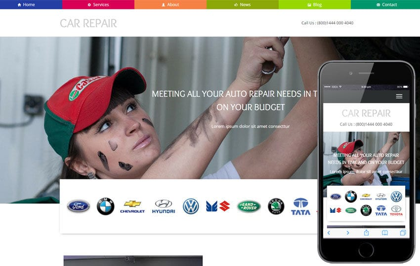 Car Repair a Auto Mobile Category Flat Bootstrap Responsive Web Template Mobile website template Free