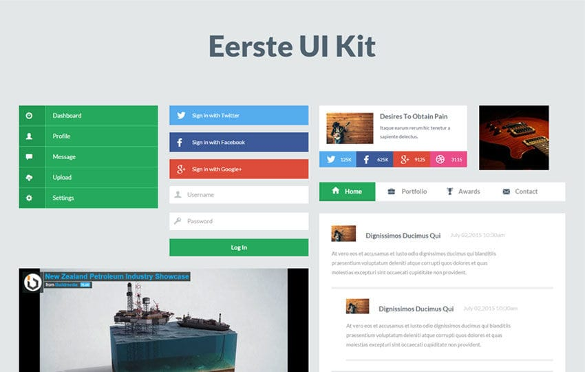 Eerste UI Kit a Flat Bootstrap Responsive Web Template Mobile website template Free