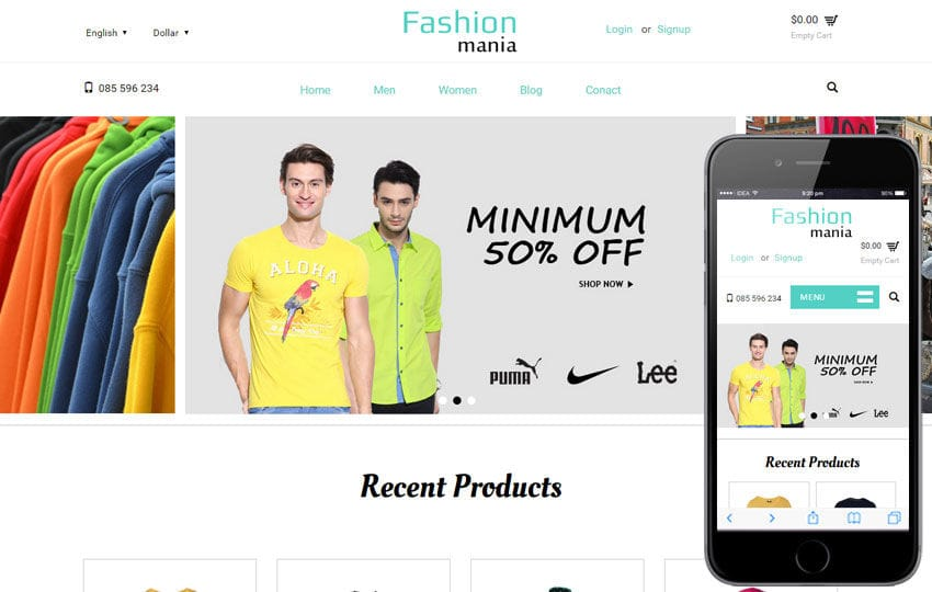Fashion Mania a Flat Ecommerce Bootstrap Responsive Web Template Mobile website template Free