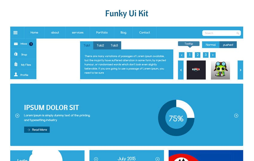 Funky UI Kit a Flat Bootstrap Responsive Web Template Mobile website template Free