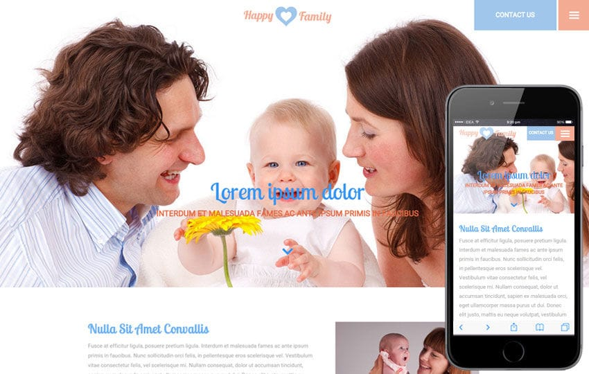Happy Family a People Category Flat Bootstrap Responsive Web Template Mobile website template Free