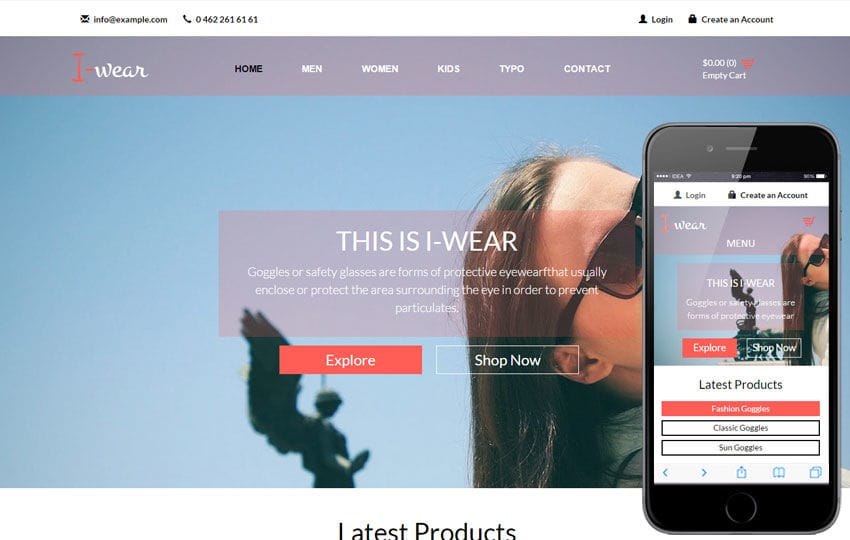 I Wear a Flat Ecommerce Bootstrap Responsive Web Template Mobile website template Free