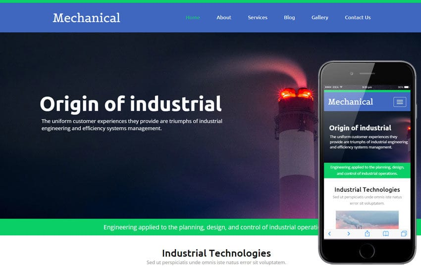 Mechanical a Industrial Category Flat Bootstrap Responsive Web Template Mobile website template Free