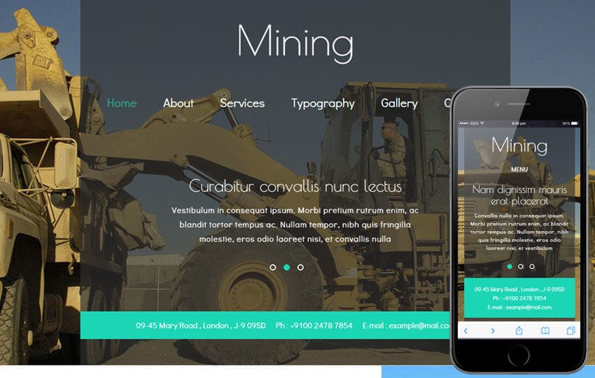 Mining a Industrial Category Flat Bootstrap Responsive Web Template Mobile website template Free