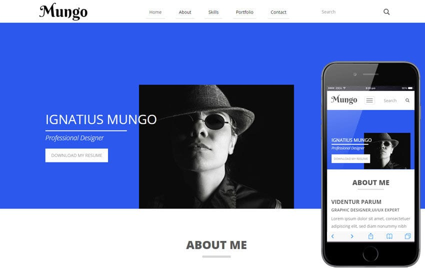 Mungo a Resume Portfolio Flat Bootstrap Responsive Web Template Mobile website template Free