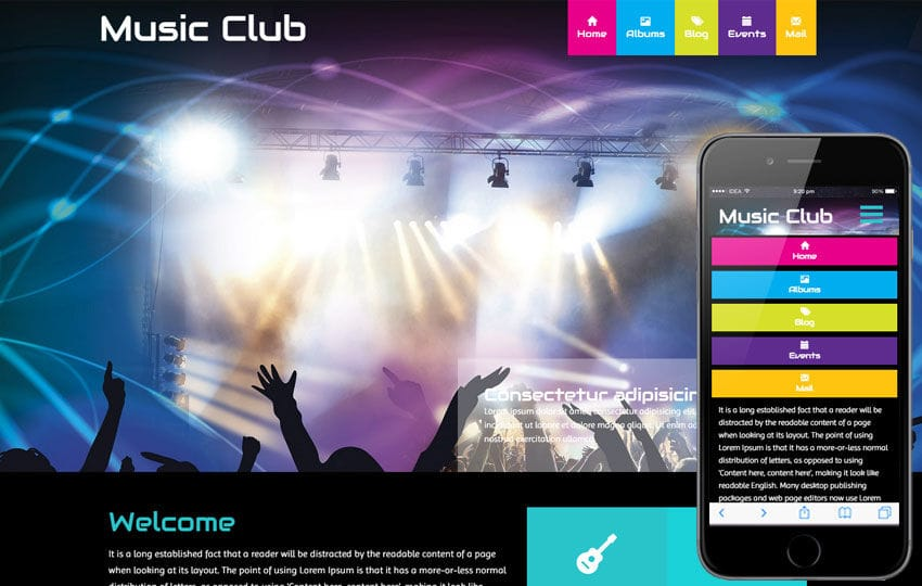 Music Club a Entertainment Category Flat Bootstrap Responsive web template Mobile website template Free