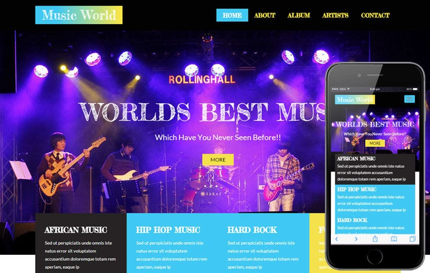 Music World a Entertainment Category Flat Bootstrap Responsive web template Mobile website template Free