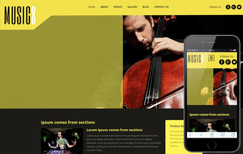 Music 8 a Entertainment Category Flat Bootstrap Responsive web template Mobile website template Free