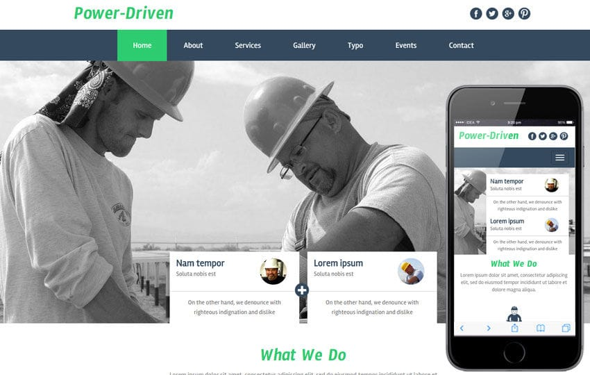 Power Driven a Industrial Category Flat Bootstrap Responsive Web Template Mobile website template Free